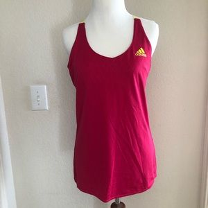 Adidas Pink Racerback Tank with Neon Yellow Straps